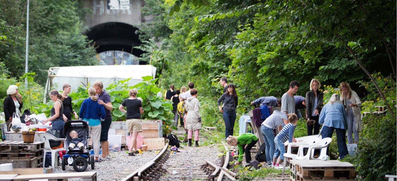 Tuin op het spoor in Stockholm. Foto: Trädgård på Spåret
