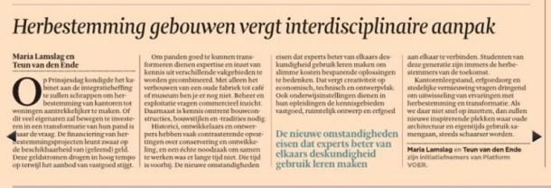 'Hergebruik gebouwen vergt interdisciplinaire aanpak', Maria Lamslag en Teun van den Ende, Financieele Dagblad 2 oktober 2013