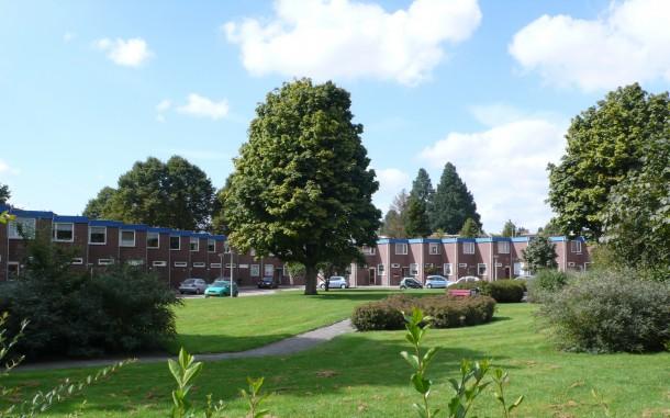 Gemeentelijk monument Bluebanddorp in Slotervaart laat waarde van groen sterk zien. foto: Stadsdeel Nieuw-West