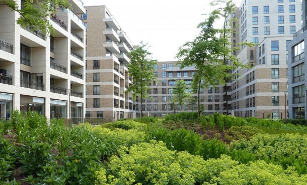 Nieuwbouwproject Andreas Ensemble, hoge dichtheid en groen karakter gaan prima samen. foto: Stadsdeel Nieuw-West.