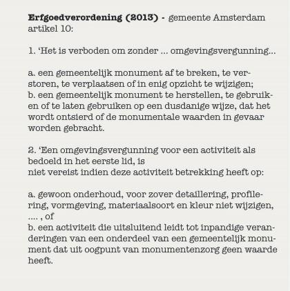 Erfgoedverordening 2013 gemeente Amsterdam