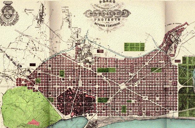 Uitbreidingsplan Barcelona Cerda (Wikimedia Commons)