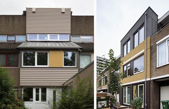 Twee voorbeelden van een Nul op de meter woning in Maarssen (links) en Zoetermeer (rechts)