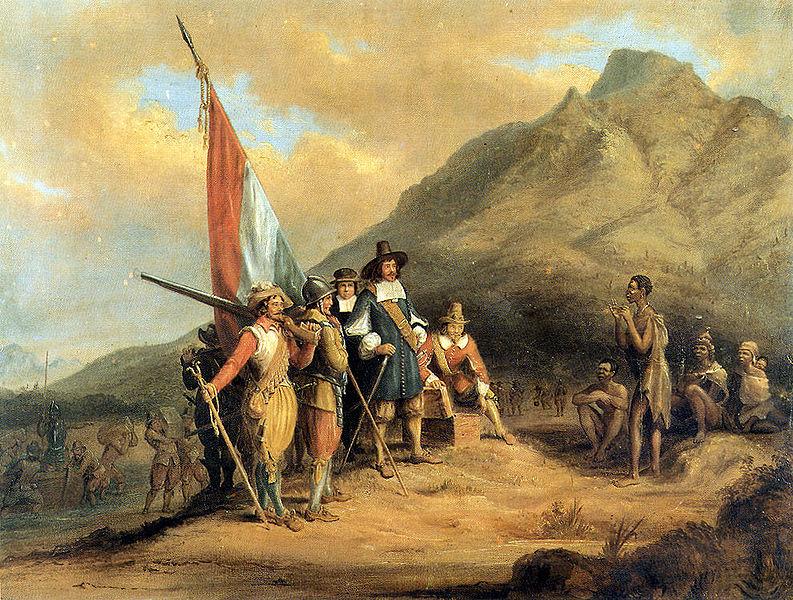 Jan van Riebeeck se aankoms aan die Kaap. Door Charles Bell.