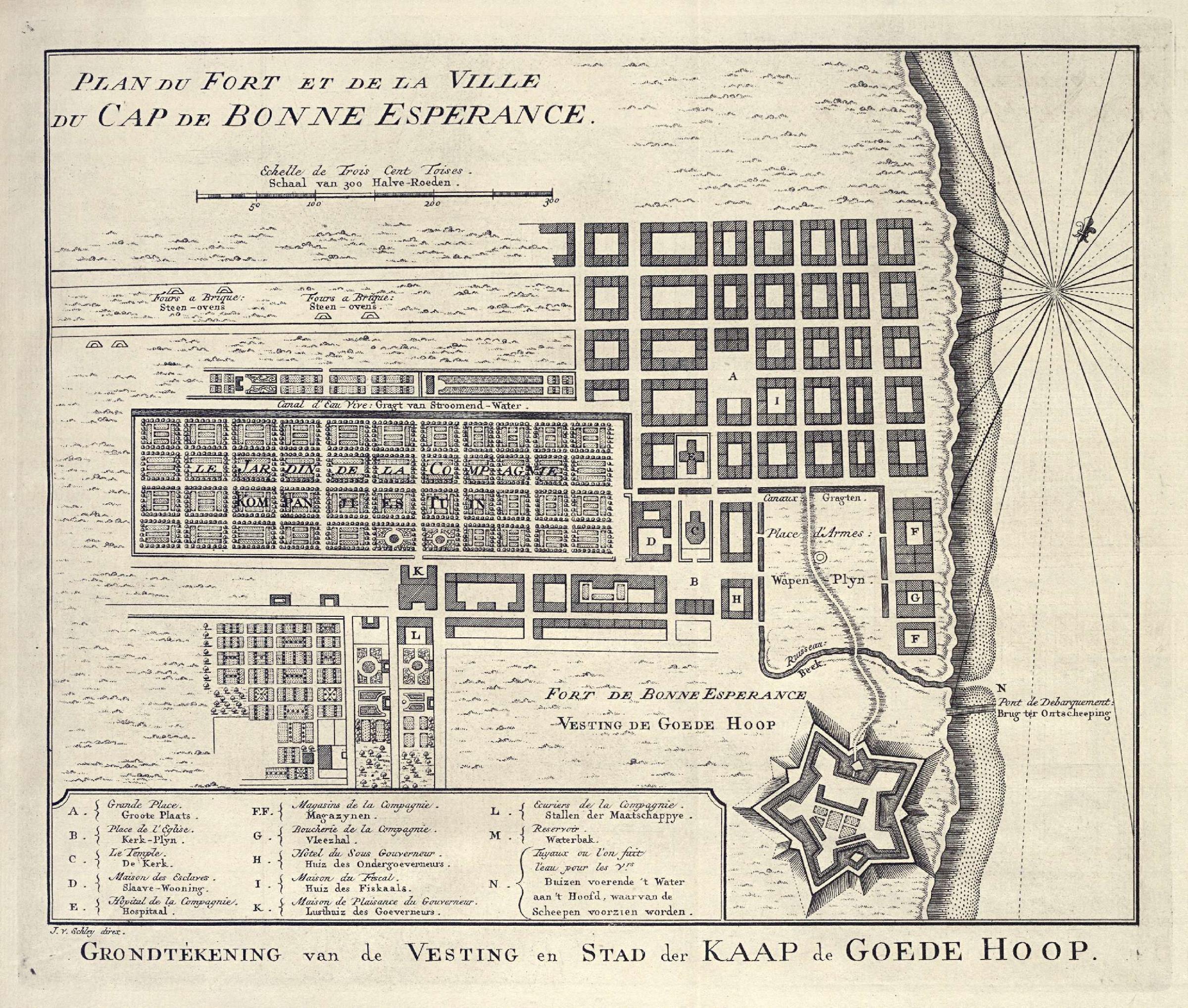 Kaart van Kaapstad en Fort Kaap de Goede Hoop door Jacob van der Schley. Beeld: Koninklijke Bibliotheek.